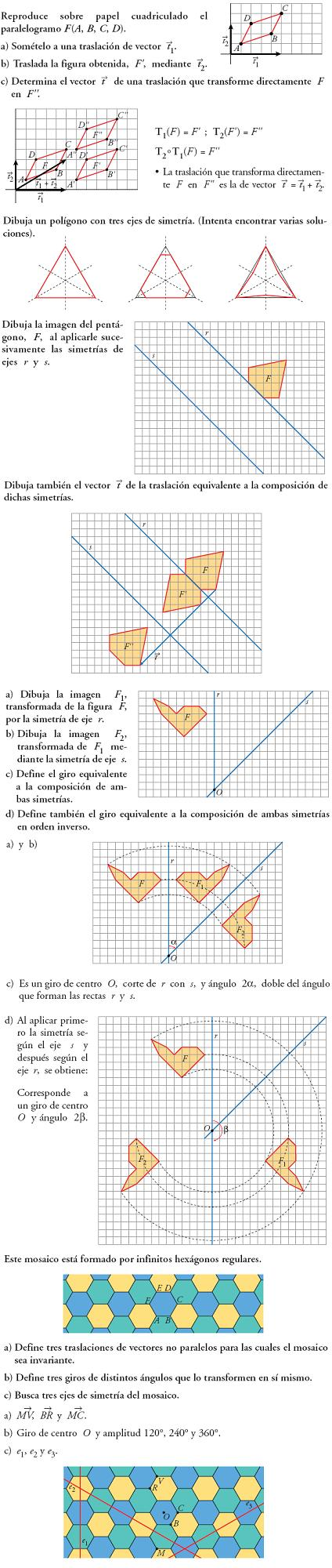 Matemáticas. Practica transformaciones geométricas. Problemas resueltos.