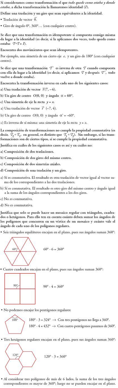 Matemáticas. Reflexionar sobre la teoría de transformaciones geométricas