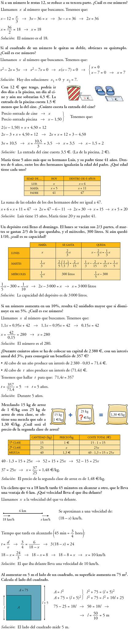 Matemáticas. Piensa y resuelve. Problemas resueltos 3ºESO de ecuaciones