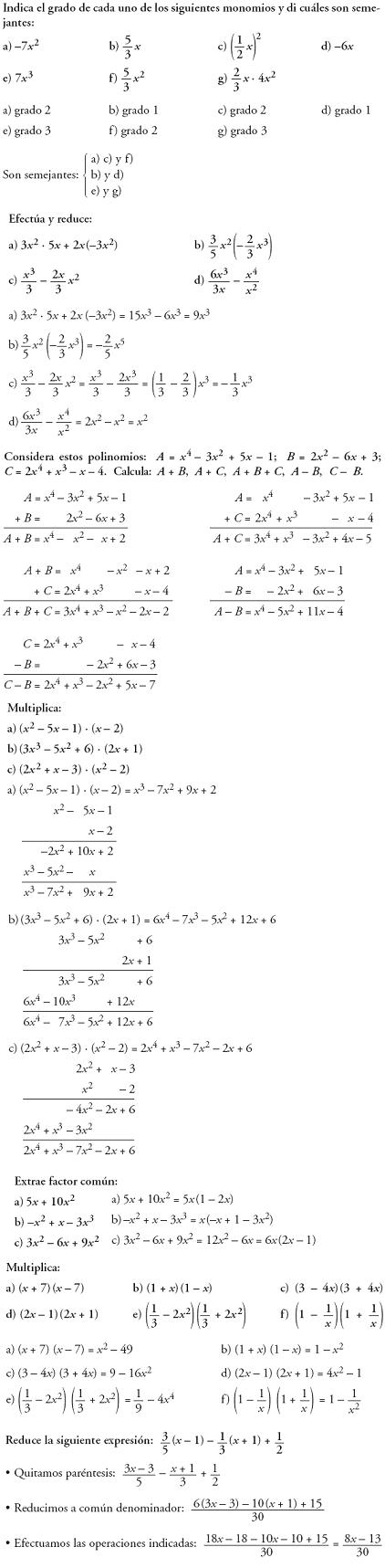 Matemáticas. Problemas resueltos 3º ESO - Operaciones con polinomios