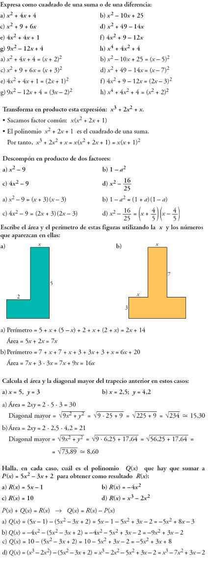 Matemáticas. Piensa y resuelve. Problemas resueltos 3ºESO de lenguaje algebraico
