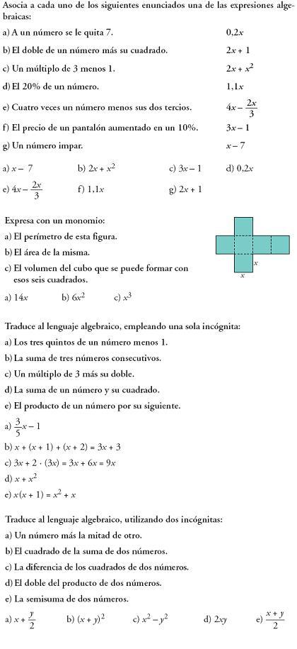 lenguaje algebraico que es: