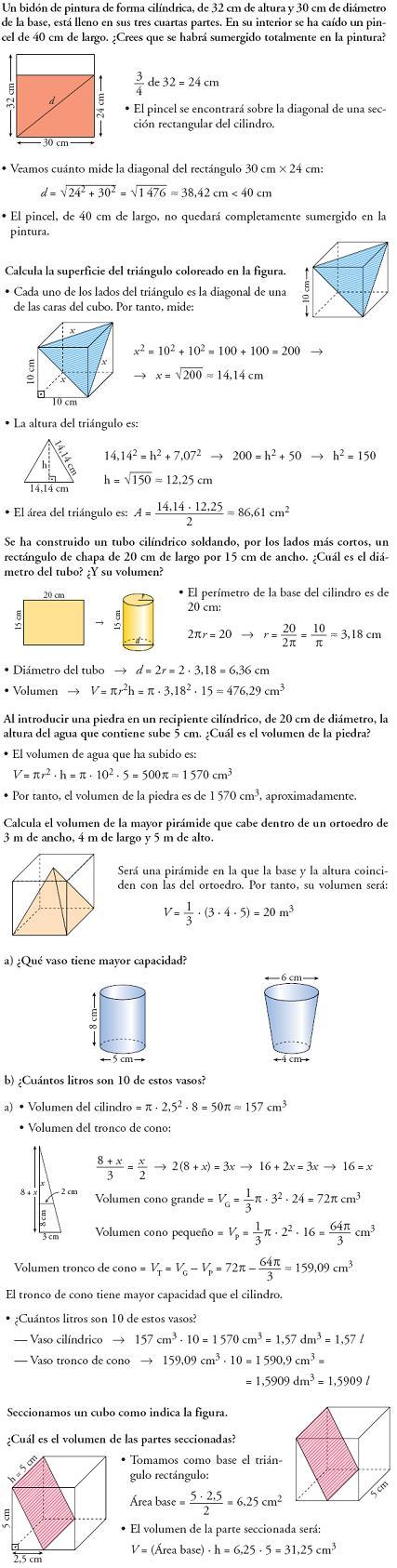 Matemáticas. Piensa y resuelve. Problemas resueltos 3ºESO de figuras en el espacio