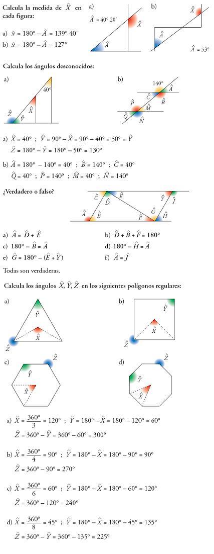 matemáticas 3º ESO ángulos geometría problemas resueltos
