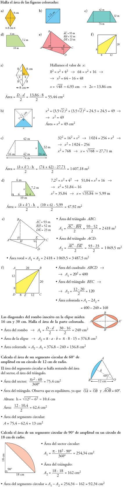 Problemas resueltos de áreas geometría 3º ESO