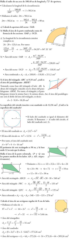 Matemáticas. Piensa y resuelve. Problemas resueltos 3ºESO de figuras planas y lugares geometricos
