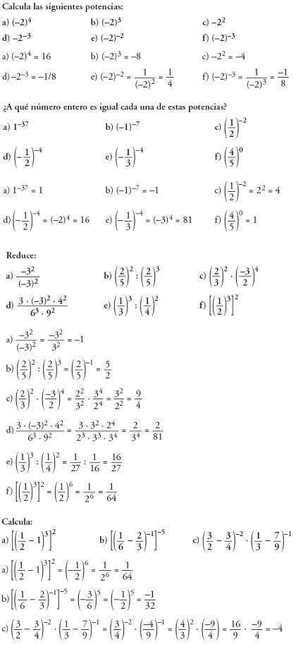 Matemáticas. Problemas resueltos 3º ESO - Operaciones con números racionales y potencias