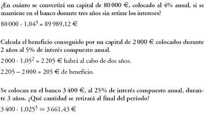 Matemáticas. Problemas resueltos 3º ESO - Interés compuesto