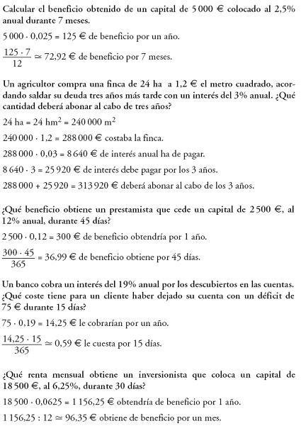 Matemáticas. Problemas resueltos de proporcionalidad. Interés simple