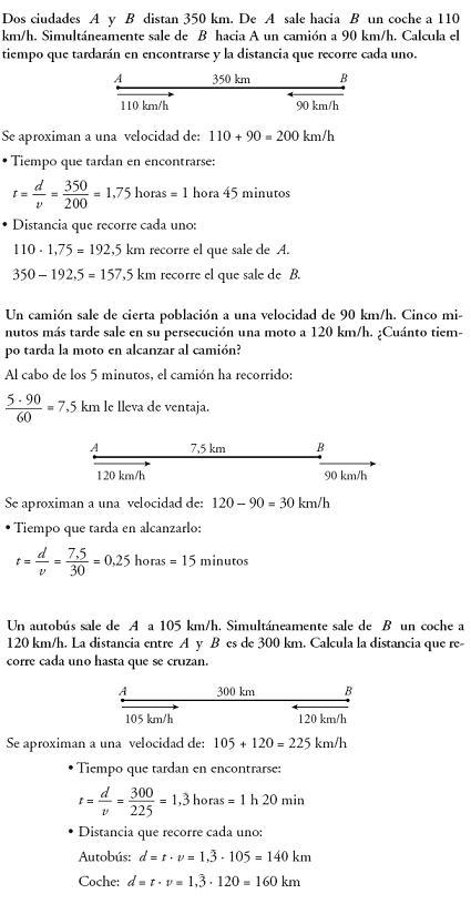 Matemáticas. Problemas resueltos 3º ESO - Móviles. Distancias y tiempos