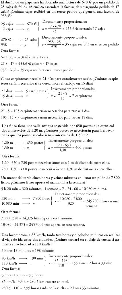 Matemáticas. Proporcionalidad directa e indirecta. Problemas resueltos