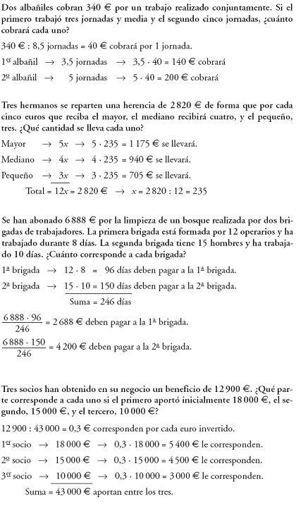 Matemáticas. Repartos proporcionales