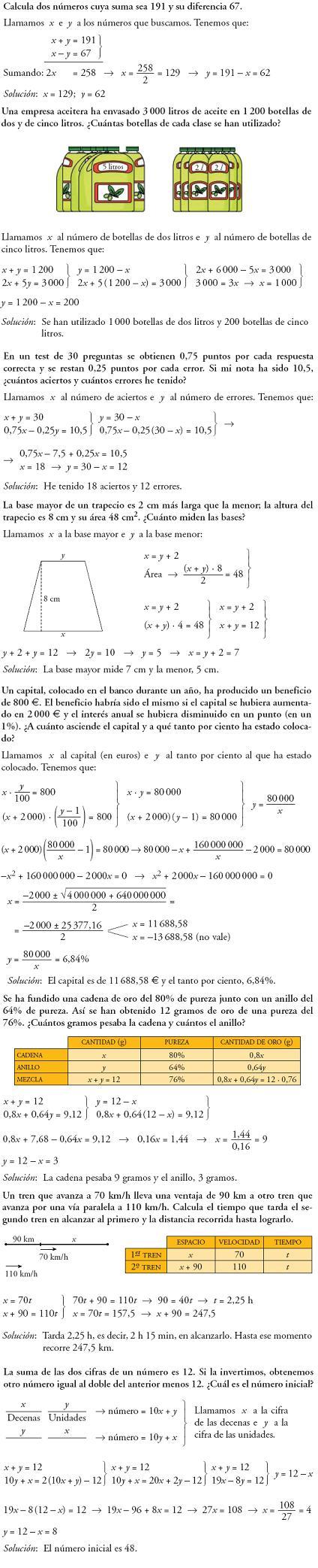 Matemáticas. Piensa y resuelve. Problemas resueltos 3ºESO de sistemas de ecuaciones