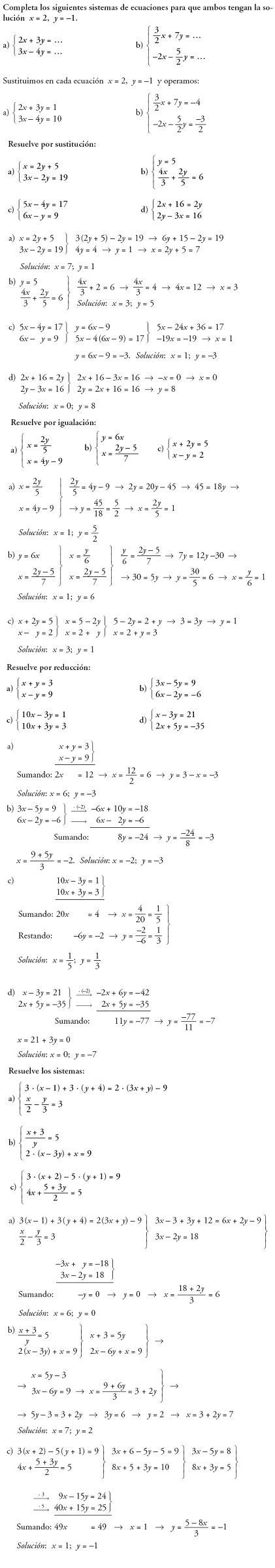 Matemáticas. Practica ejercicios sistemas de ecuaciones. Problemas resueltos.