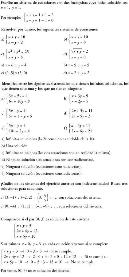 Matemáticas. Reflexionar sobre la teoría de sistemas de ecuaciones
